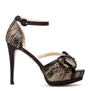 New Aliana Ankle Strap Lace & Satin Heel 8.5